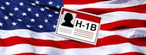 h1-b visa graphic with american flag in the background